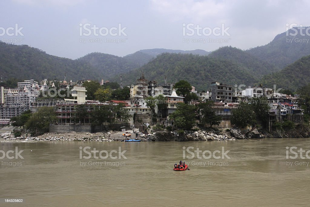 Rafting on Ganges river royalty-free stock photo