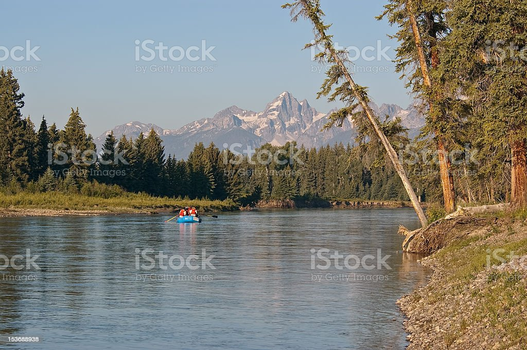 Rafting on Snake River in Grand Tetons National Park royalty-free stock photo