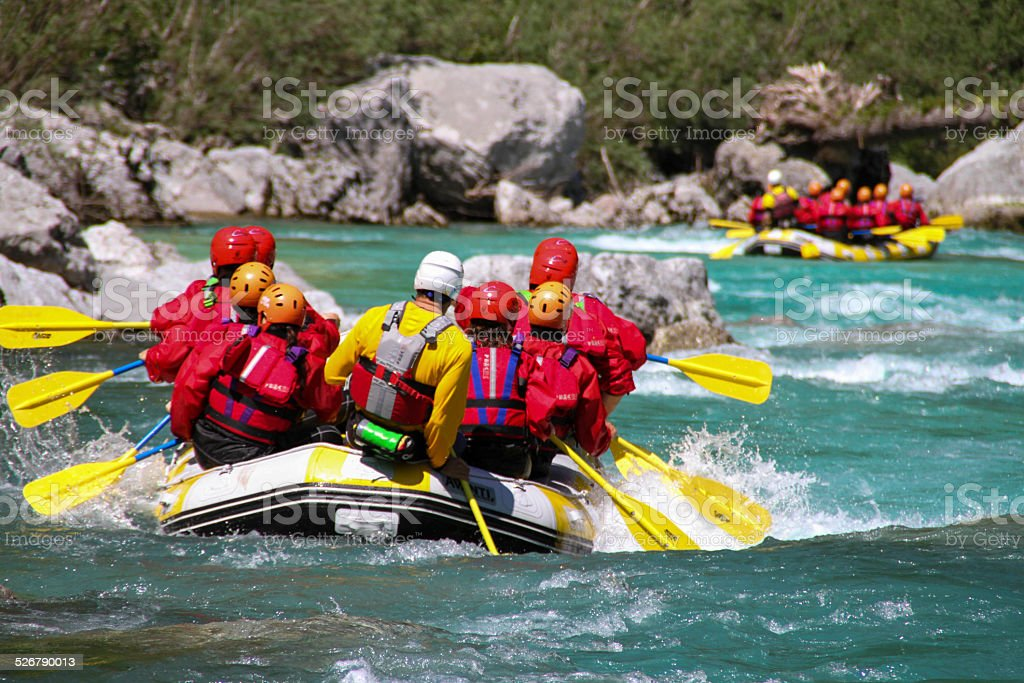 Rafting on So?a river Slovenia stock photo
