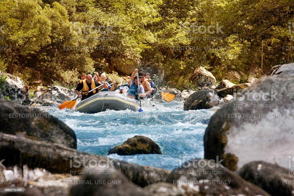 Rafting on Tara river stock photo