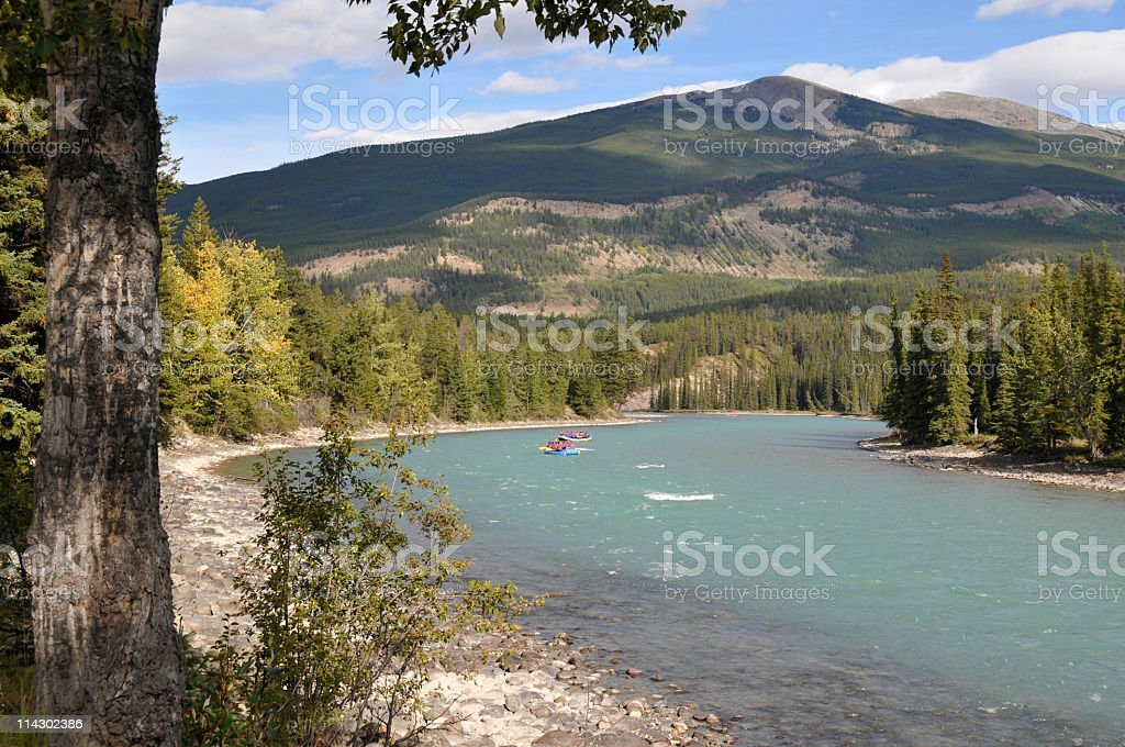 Rafting on the Athabasca River,Jasper,Jasper National Park,Canada stock photo