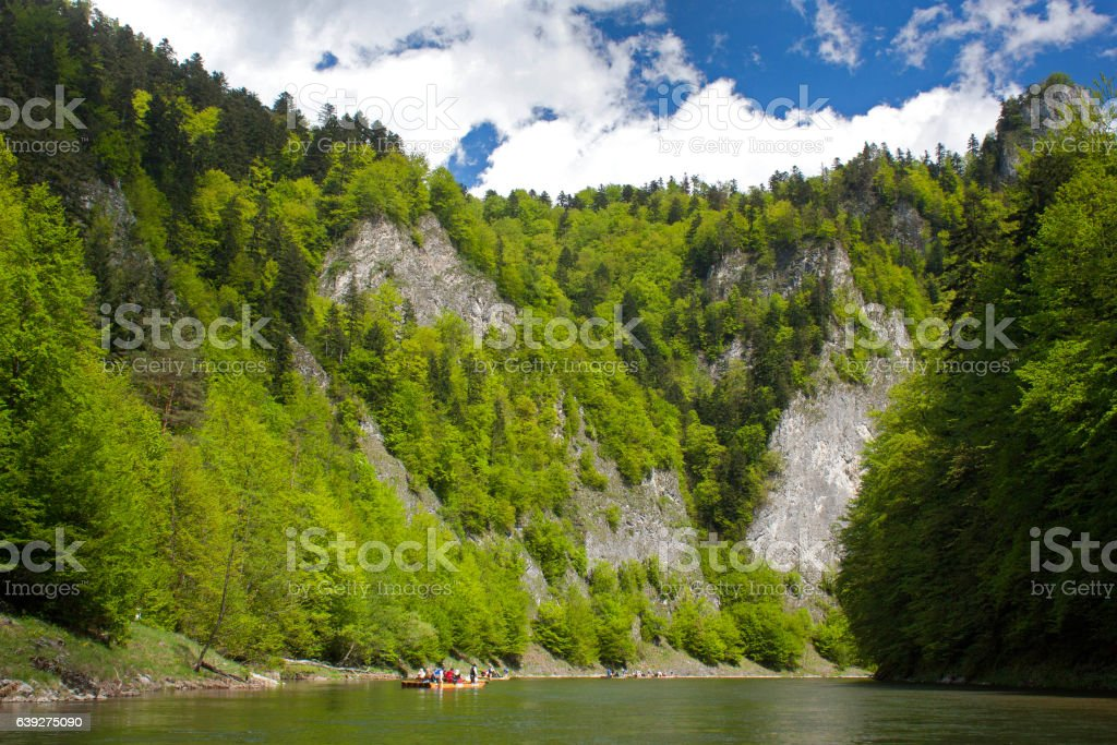 Rafting on the Dunajec river. stock photo