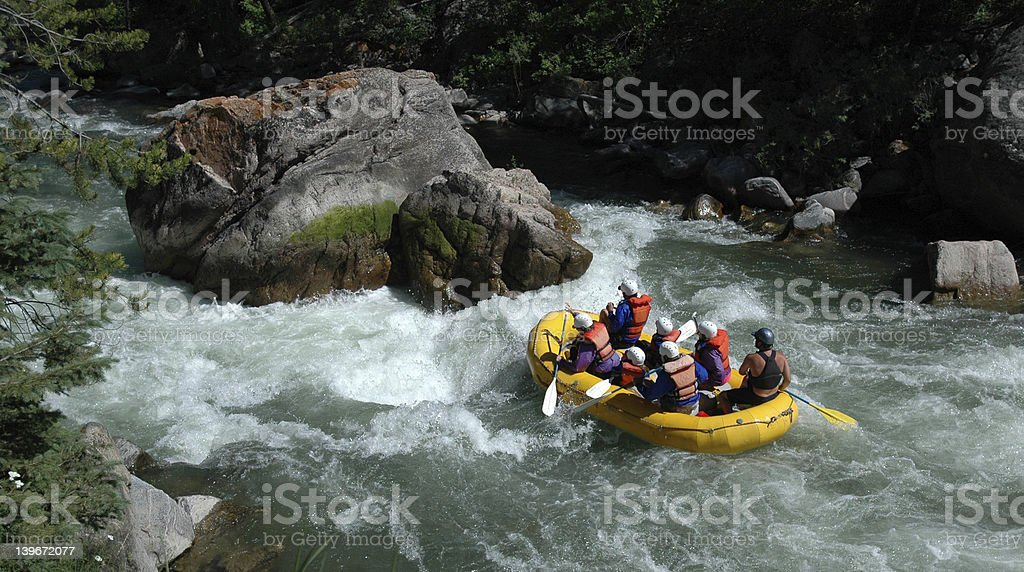 Rafting on the Gallatin River stock photo