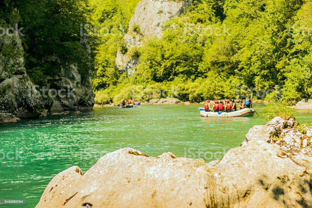 Rafting, Stone in the middle of river. stock photo