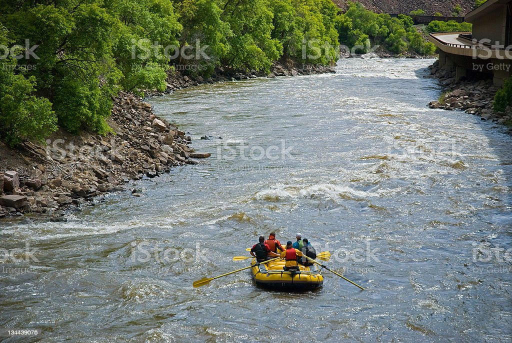 Rafting the Scenic Colorado River in Glenwood Canyon royalty-free stock photo