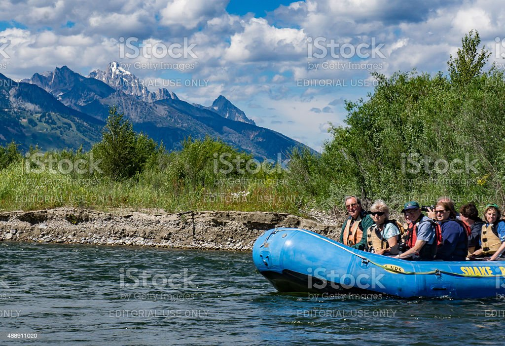 Rafting the Snake River in Wyoming stock photo