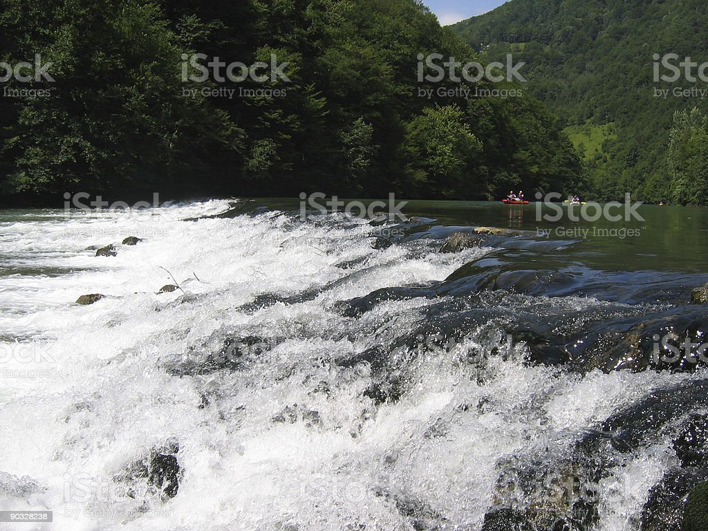 Rafts Approaching Rapids royalty-free stock photo