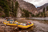 Rafts at Camp, Middle Fork of the Salmon River, Idaho