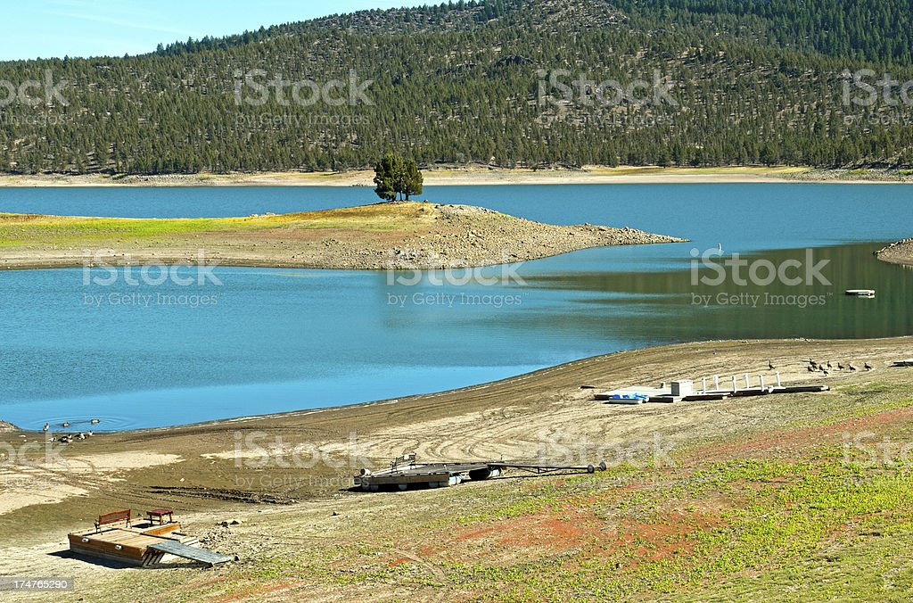 Rafts grounded from low water in reservoir royalty-free stock photo