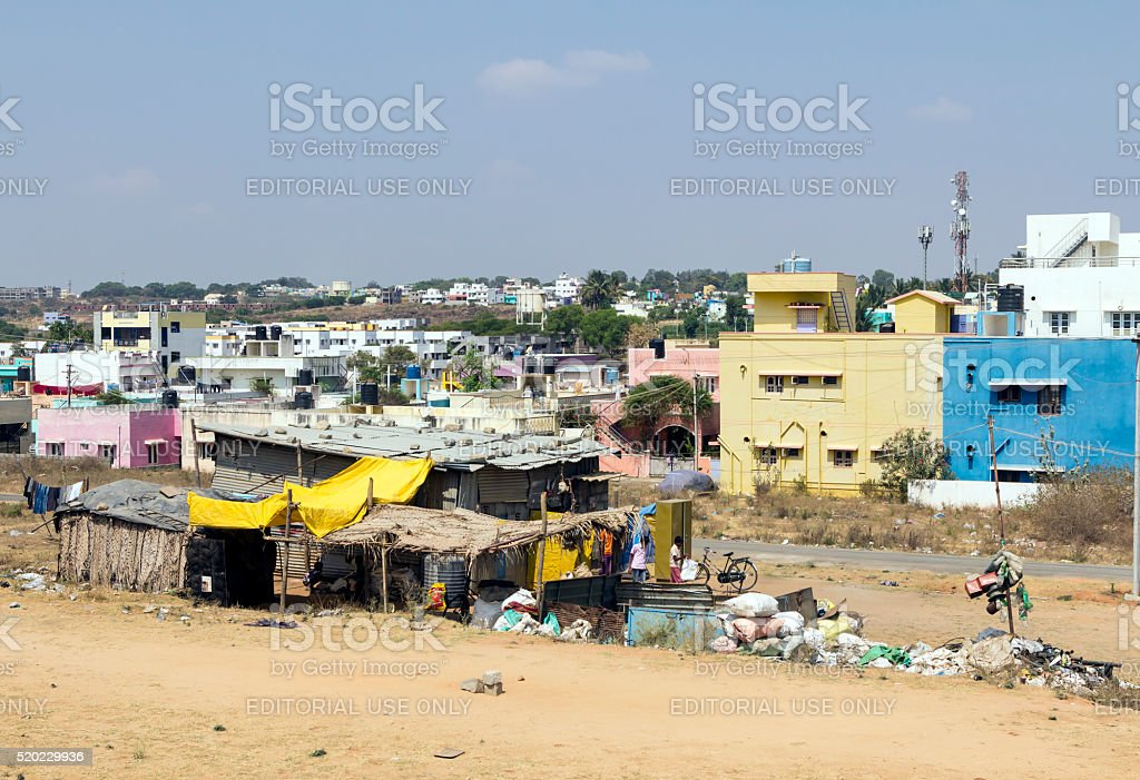 Rag pickers' shack, Hosur, Tamil Nadu, India stock photo