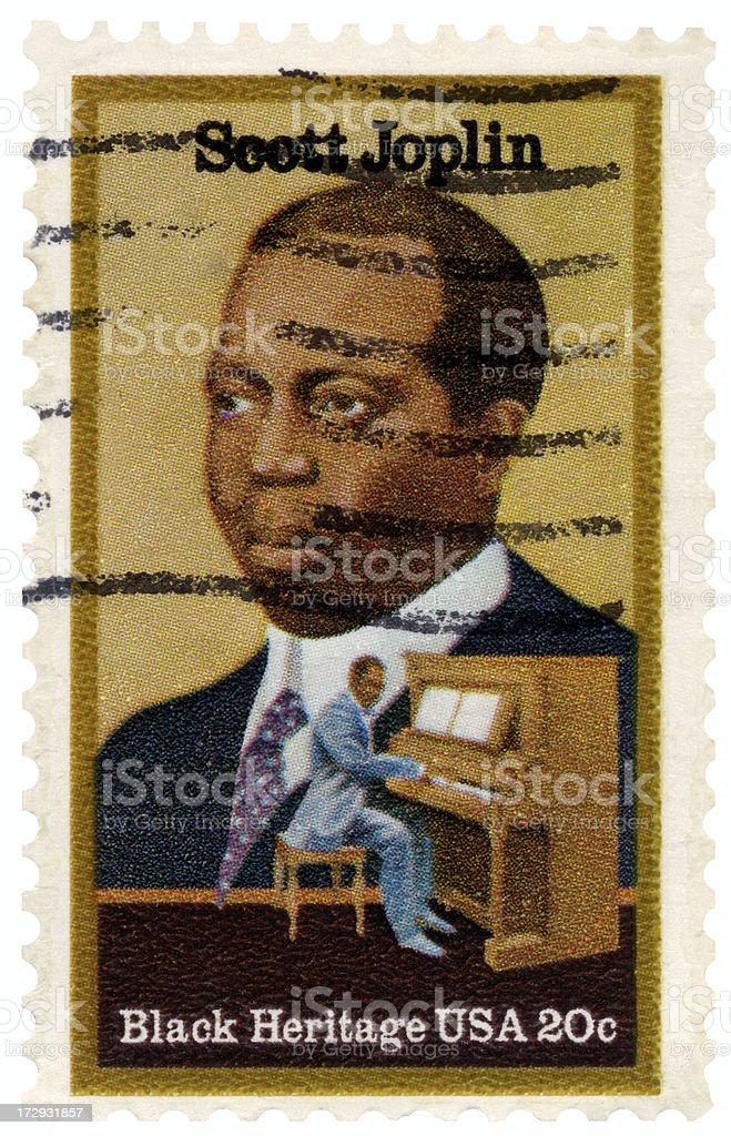 Rag Time Composer Scott Joplin Black Heritage Commemorative Postage Stamp stock photo
