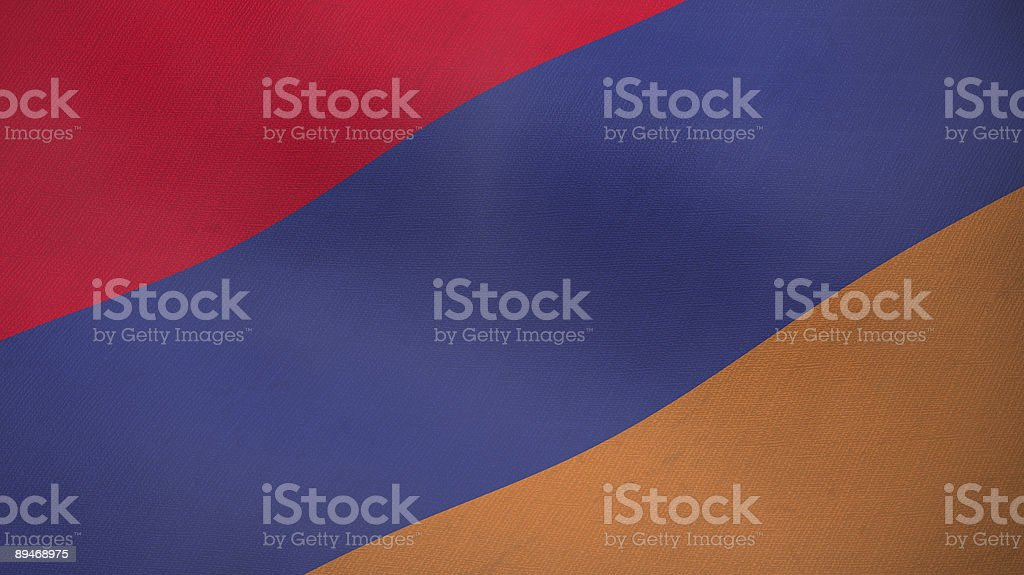 3D ragged flag of Armenia stock photo