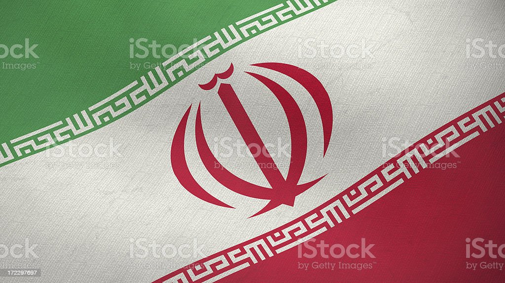 3D ragged flag of Iran stock photo