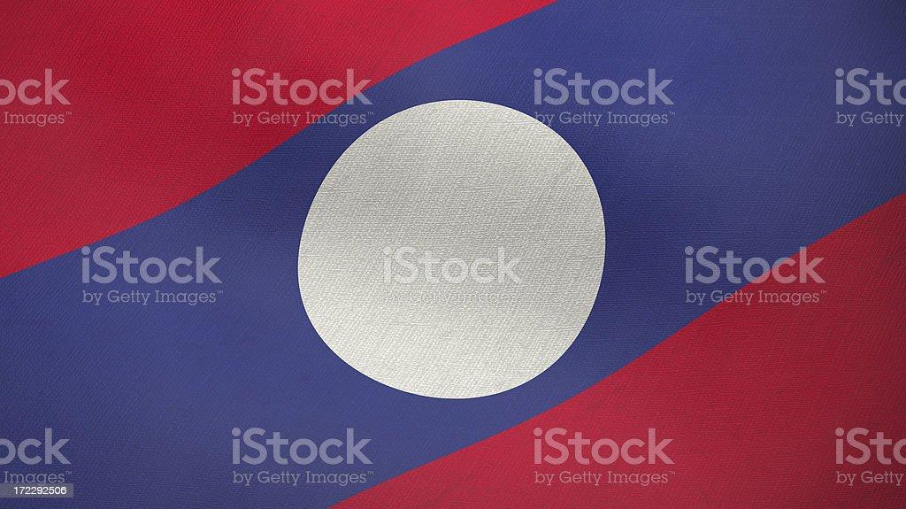 3D ragged flag of Laos stock photo