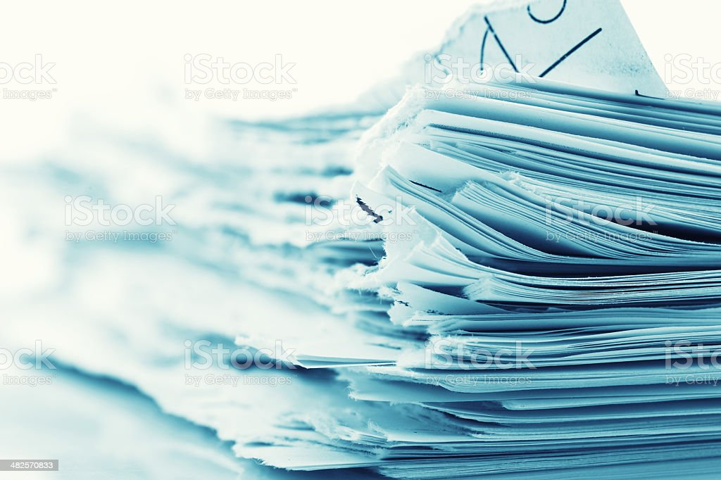 Ragged paper sheets stock photo