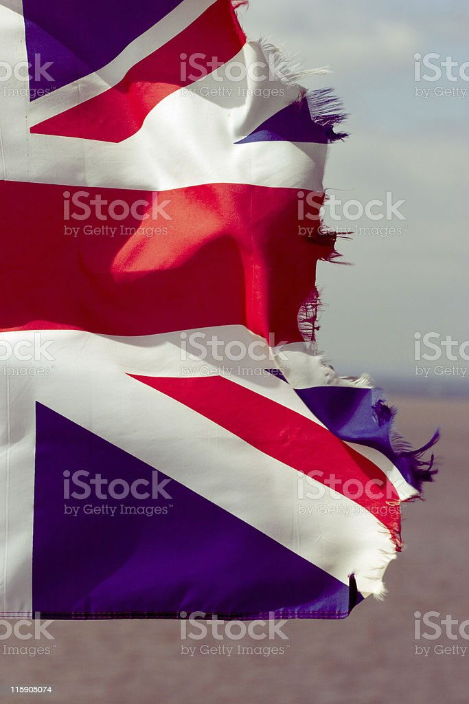 Ragged Union Flag stock photo
