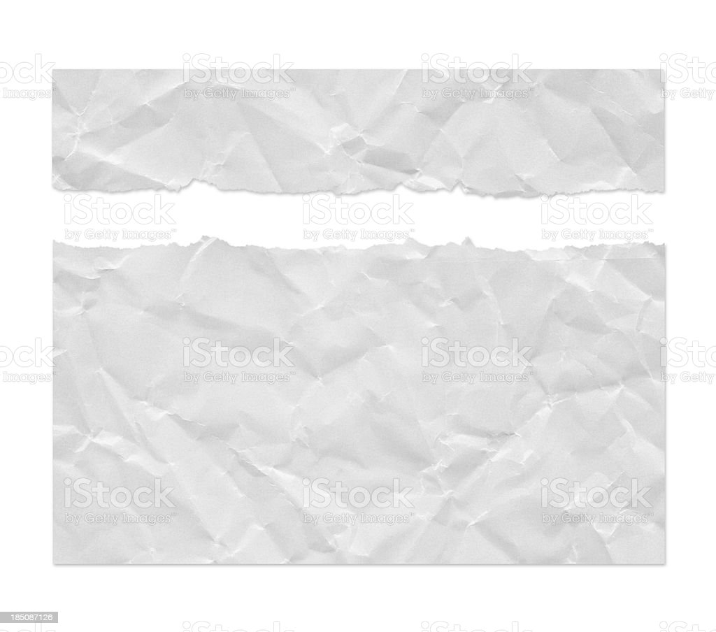 Ragged Wrinkled White Paper (Clipping Path) stock photo