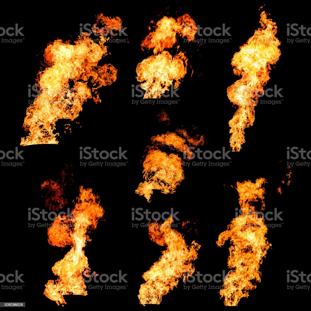 Raging fire spurts of flame texture photo set on black stock photo