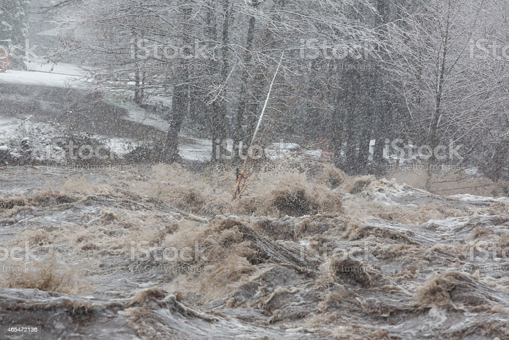Raging Flood waters stock photo