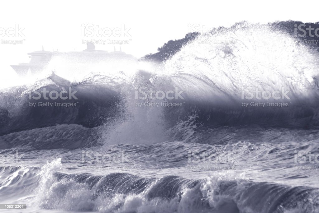 raging planet powerful waves and cruise ship royalty-free stock photo
