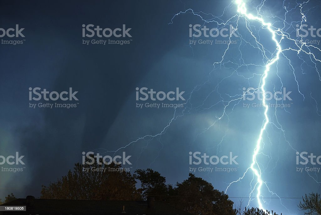 Raging Tornado and Lightning stock photo