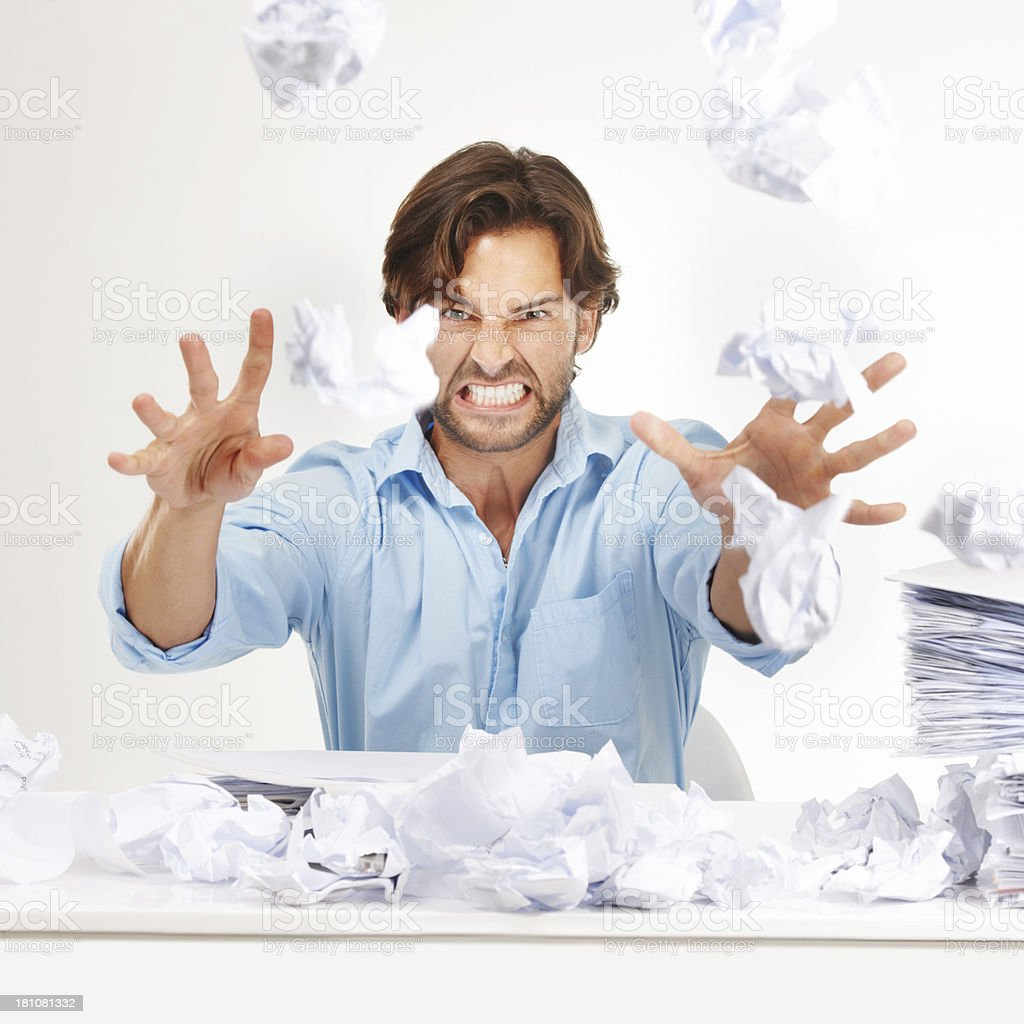 Raging with anger stock photo