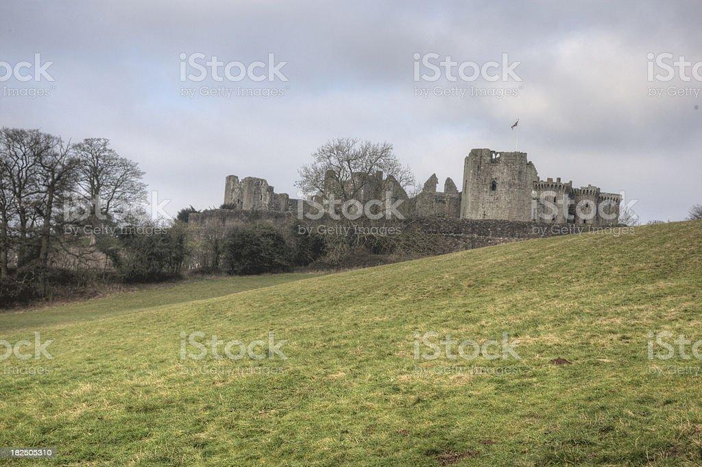 Raglan Castle in Wales stock photo
