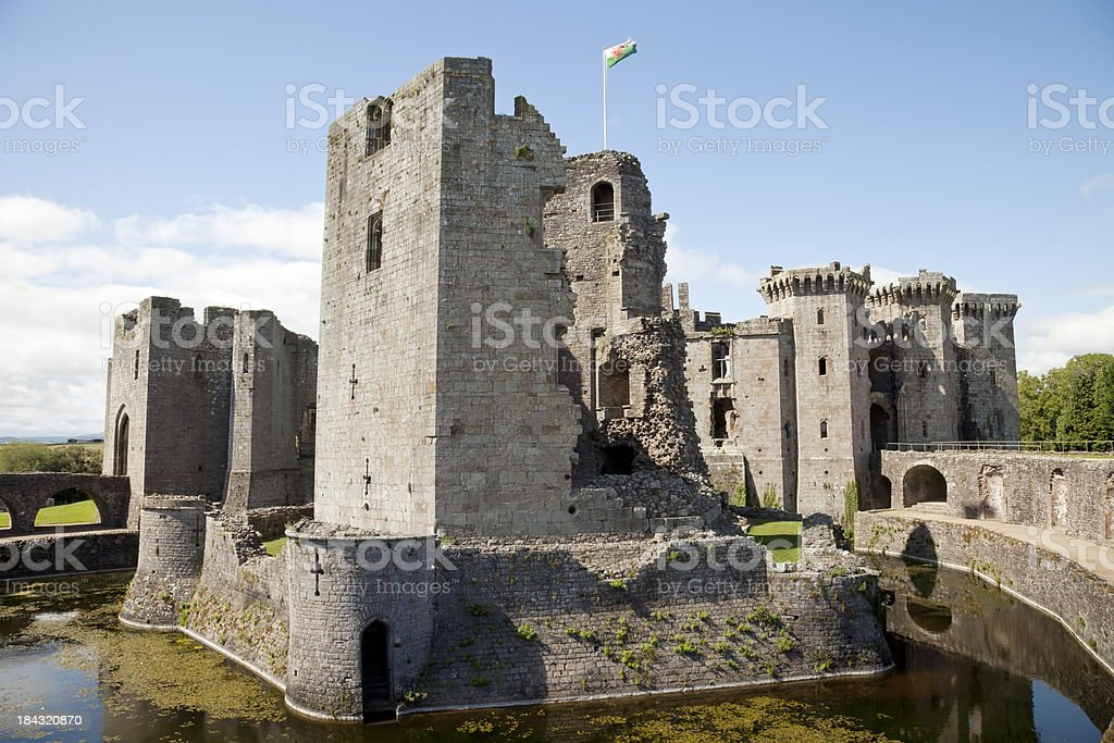 Raglan Castle Keep and Moat stock photo