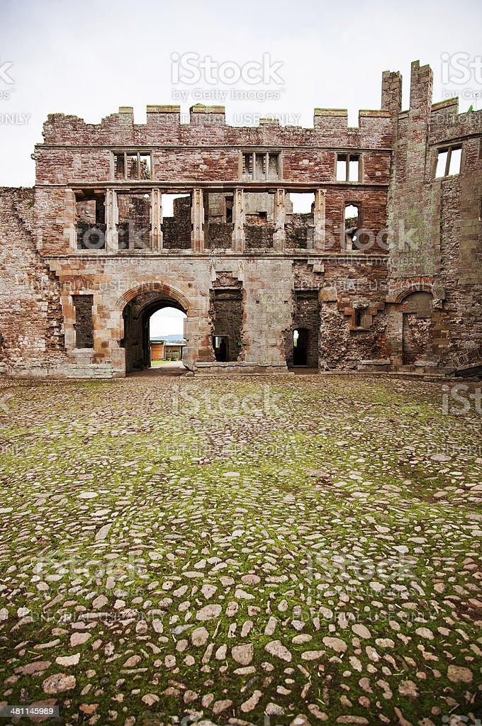 Raglan castle main entrance stock photo