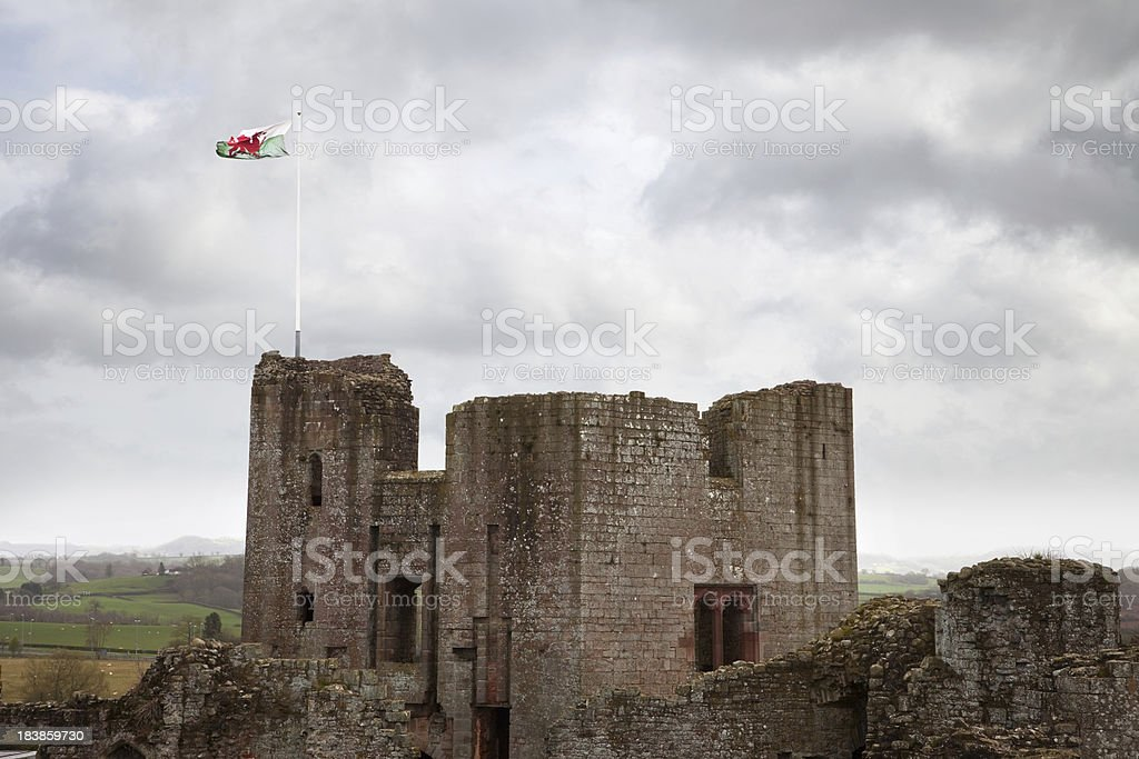 Raglan Castle Main Tower with Welsh Flag stock photo