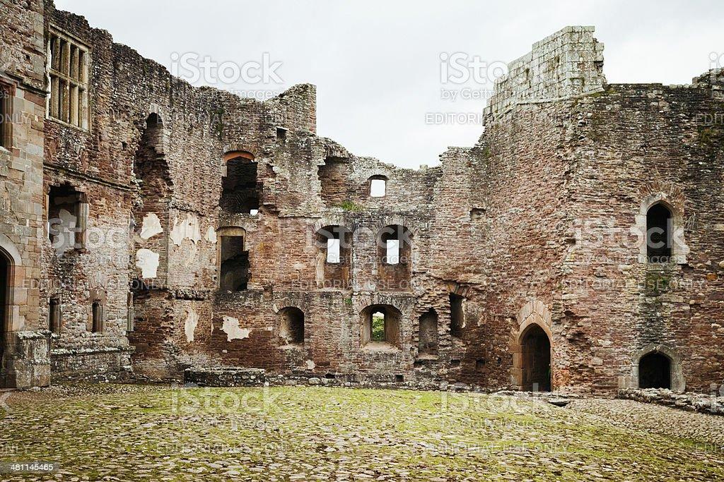 Raglan castle ruined wall stock photo