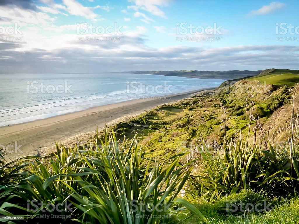 Raglan Surf Beach North Island New Zealand stock photo