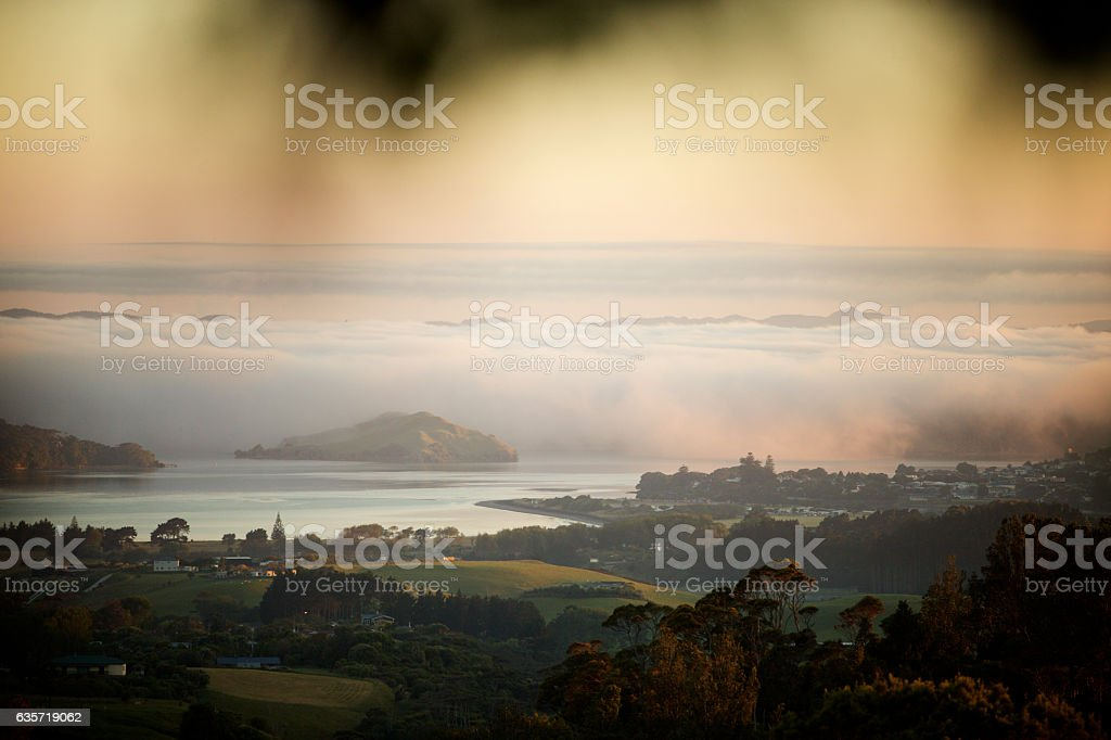 Raglan town and harbor in New Zealand stock photo