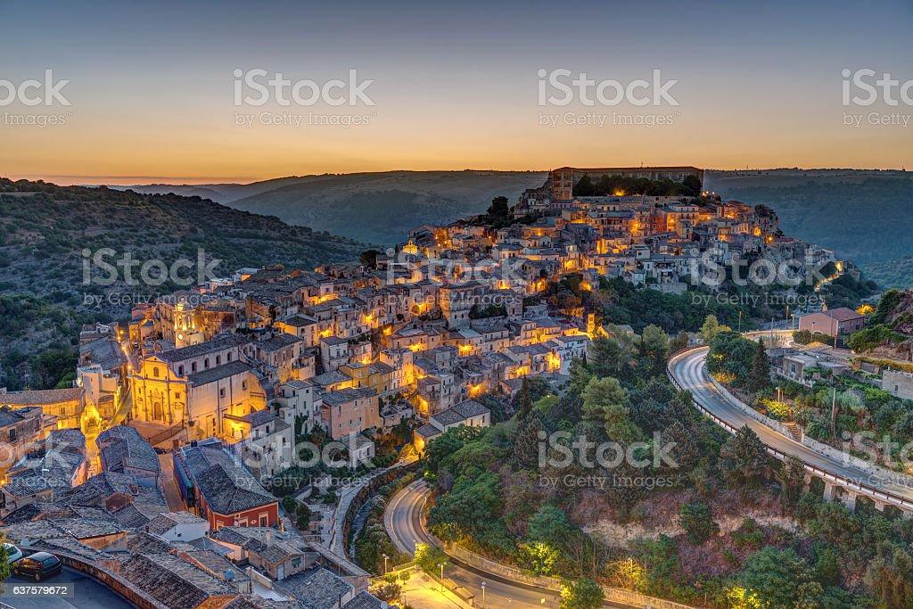 Ragusa Ibla in Sicily before sunrise stock photo