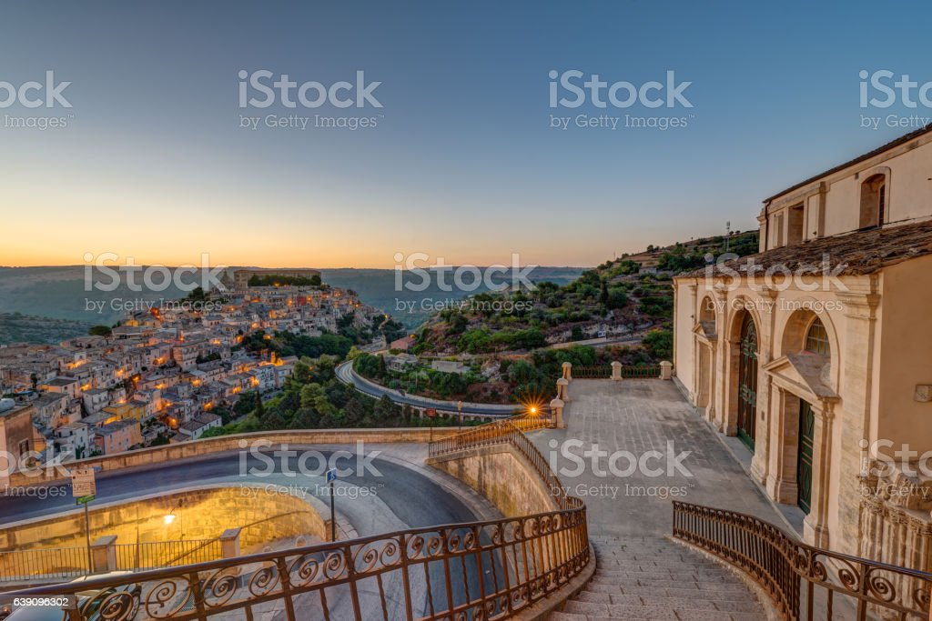 Ragusa Ibla in Sicily in the early morning stock photo