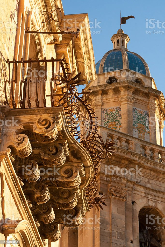 Ragusa Ibla, Sicily: Baroque Balcony and  Church stock photo
