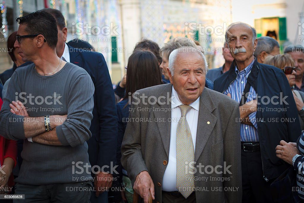 Ragusa Ibla, Sicily: Crowd on Piazza, Annual Saint George Celebration stock photo