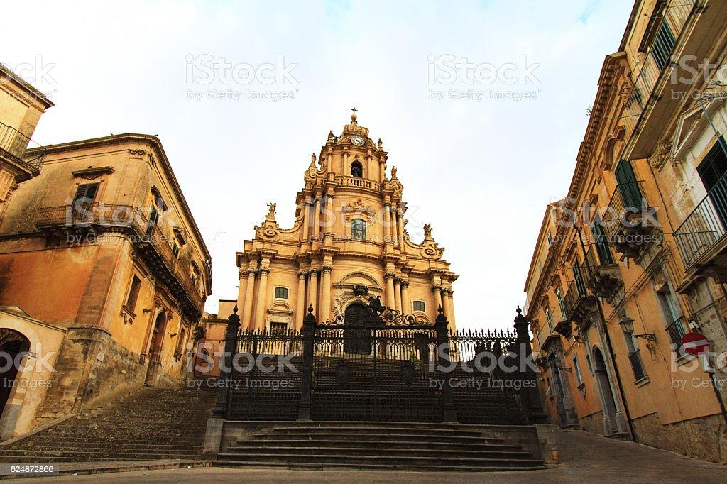 Ragusa Ibla, Sicily: Duomo di San Giorgio (Front View) stock photo