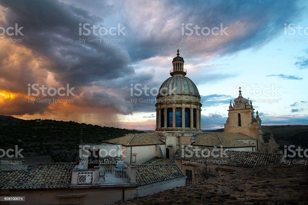 Ragusa Ibla, Sicily: Duomo San Giorgio Against Dramatic Sky stock photo