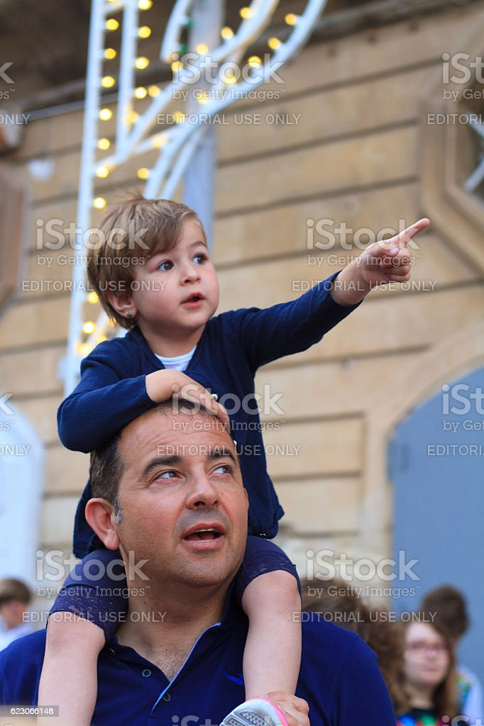 Ragusa Ibla, Sicily: Father and Daughter at Celebration of Saint stock photo