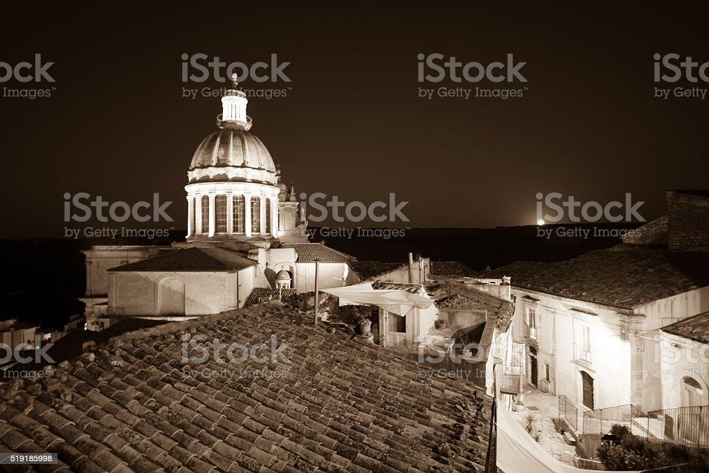 Ragusa Ibla, Sicily: Full Moon Rising, Church of San Giorgio stock photo