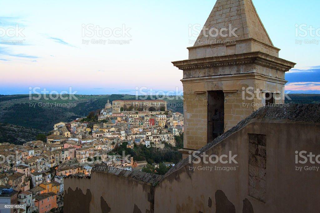 Ragusa Ibla, Sicily: Panorama at Dusk, Pretty Blue-Purple Sky stock photo