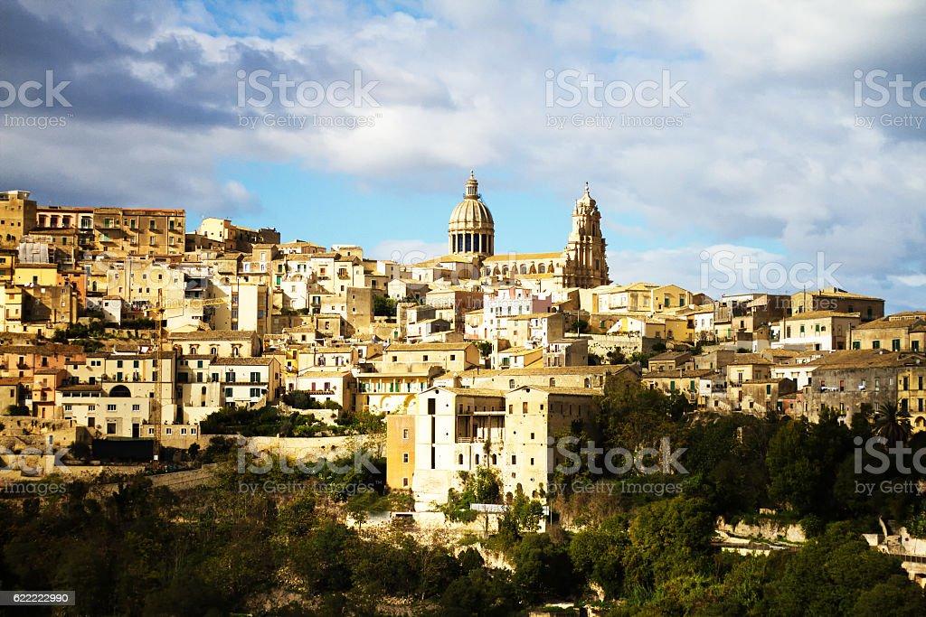 Ragusa Ibla, Sicily: Panorama from Below stock photo