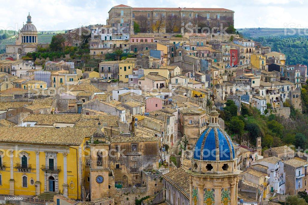 Ragusa Ibla, Sicily: Panorama of Italian Hill Town stock photo