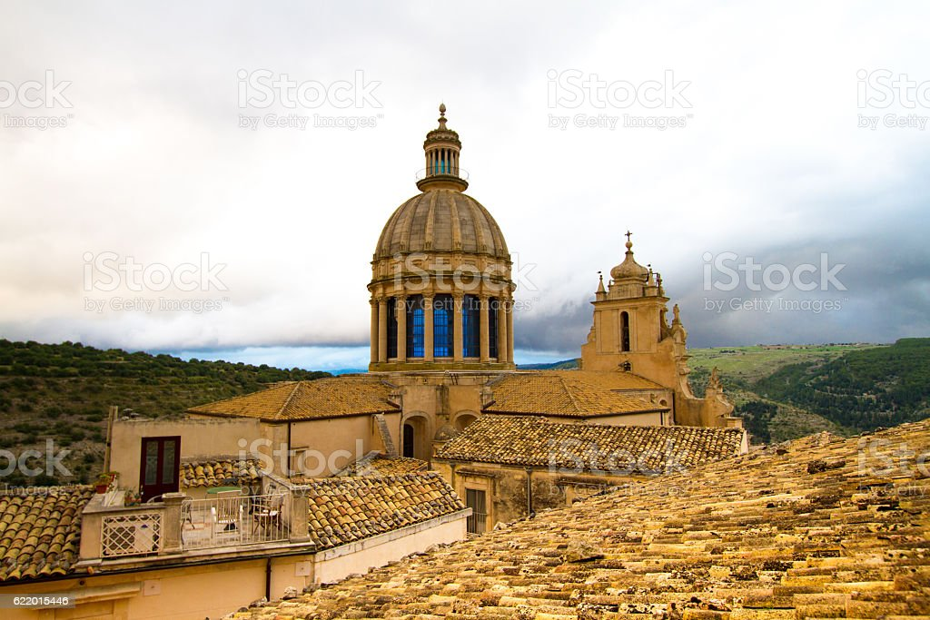 Ragusa Ibla, Sicily: Panorama with Baroque Cathedral, Puffy Cloud Background stock photo