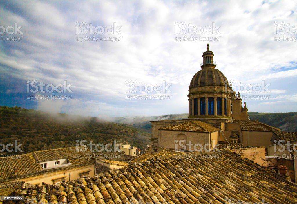 Ragusa Ibla, Sicily: Panorama with Baroque San Giorgio Cathedral stock photo