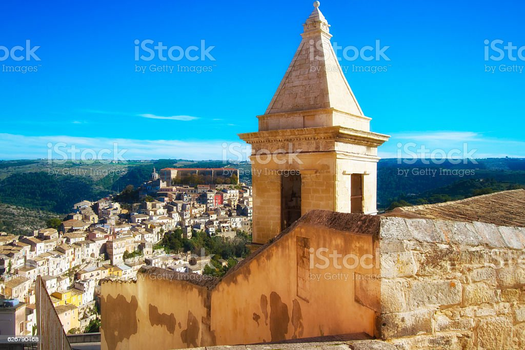 Ragusa Ibla, Sicily: Panorama with Blue Sky stock photo