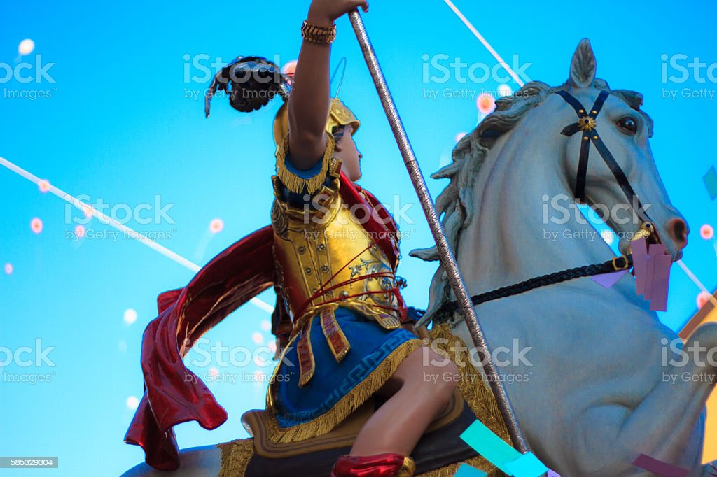 Ragusa Ibla, Sicily: Statue of Saint George Paraded Through Town stock photo
