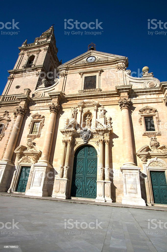 Ragusa, Sicily: Baroque Cathedral of San Giovanni, Deep Blue Sky stock photo
