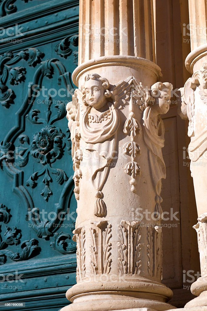 Ragusa, Sicily: Baroque Details from Cathedral of San Giovanni/St. John stock photo